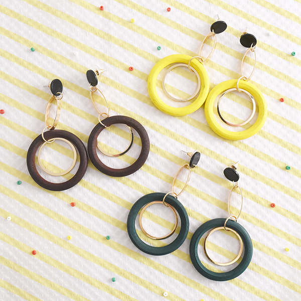 ドーナツ型ウッドxゴールドピアス【Curgy donut shaped wood×gold pierced earrings】