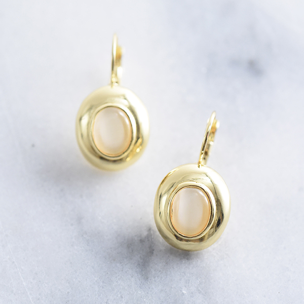 エッグストーンピアス【Maire egg stone pierced earrings】