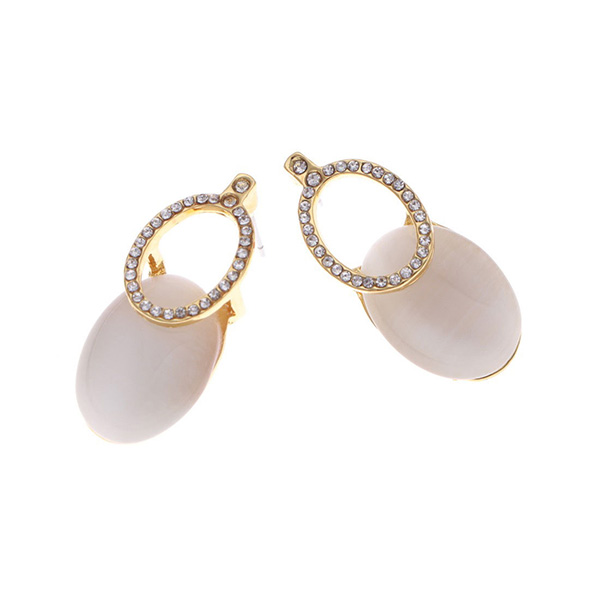 煌めき楕円型重なりピアス【Saulnay sparkle oval overlap pierced earrings】