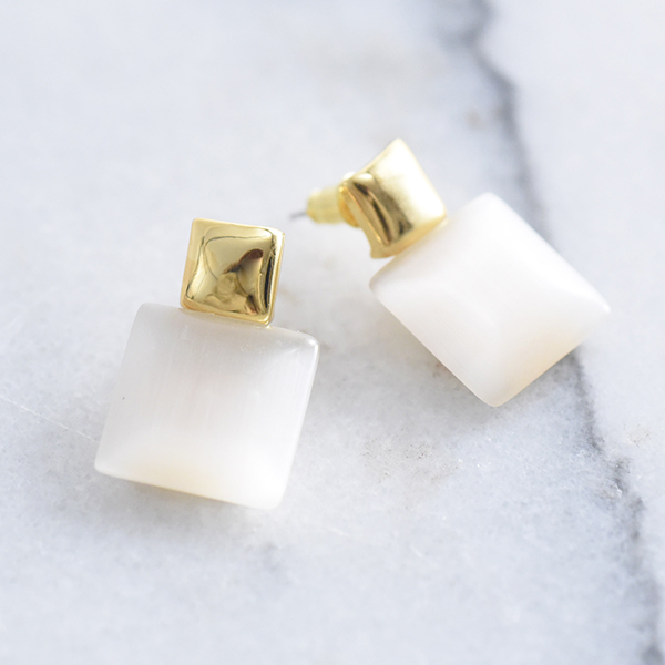ダブルスクエアストーンピアス【Murs double square stone pierced earrings】