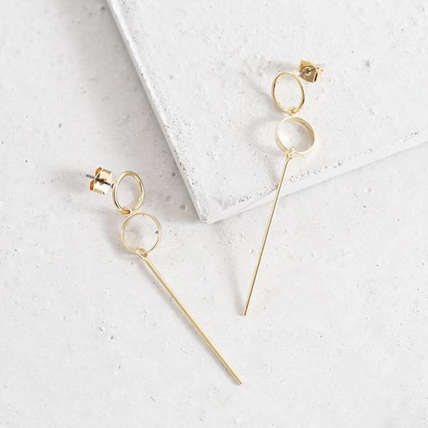 ふたつ丸ロングバーピアス【Serans two circle long bar pierced earrings】