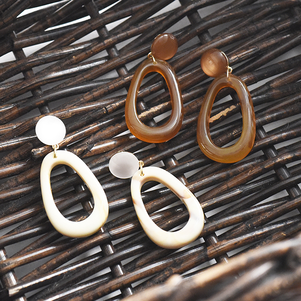 楕円べっ甲ピアス【Gabrias ellipse tortoiseshell pierced earrings】