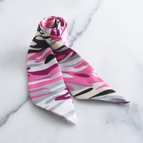 水彩柄細スカーフ【Marzy watercolor pattern thin scarf】