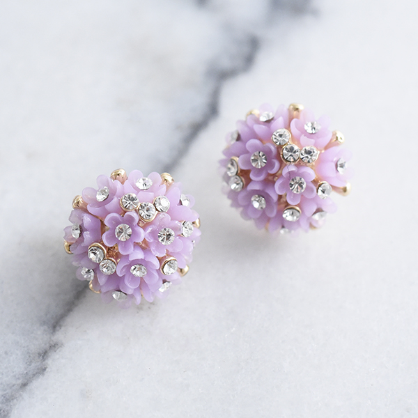 パステルフラワーブーケピアス【Pornic pastel flower bouquet pierced earrings】