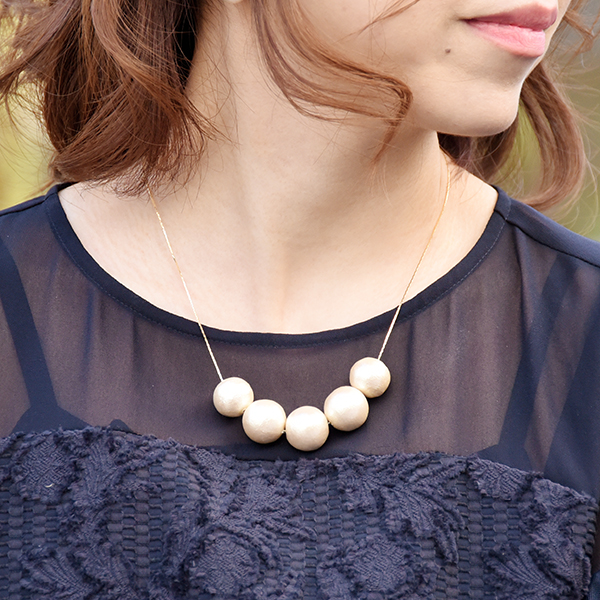 16mmと18mmのコットンパールネックレス【Juillac cotton pearl necklace】