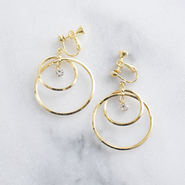 ダブルフープイヤリング【Chenu double hoop clip on earlings】