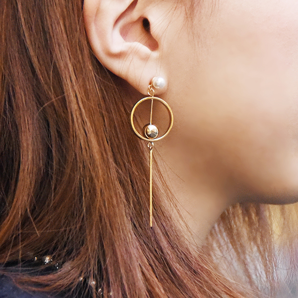 ラウンドパールバーピアス【Soumans round pearl  pierced earrings】