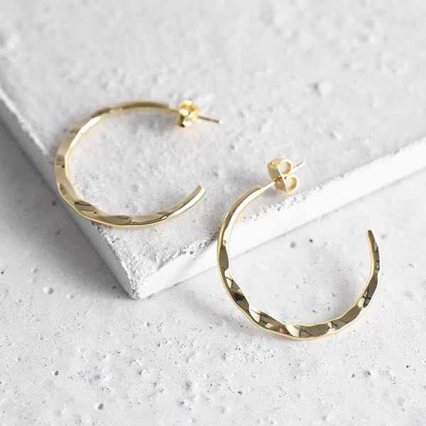 なみなみフープピアス【Charlieu hoop pierced earrings】