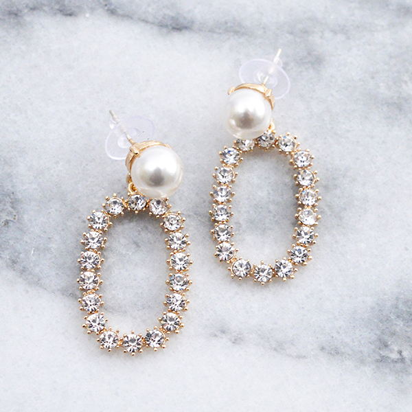 パールビジュー囲みピアス【Poitiers pearl bijou enclosure pierced earrings】
