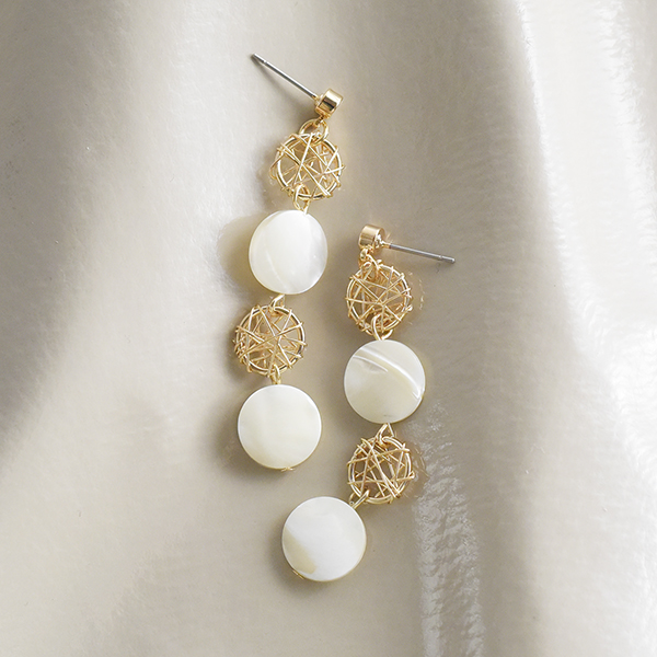 シェル×ゴールドパーツピアス【Vendat shell×gold part pierced earrings】