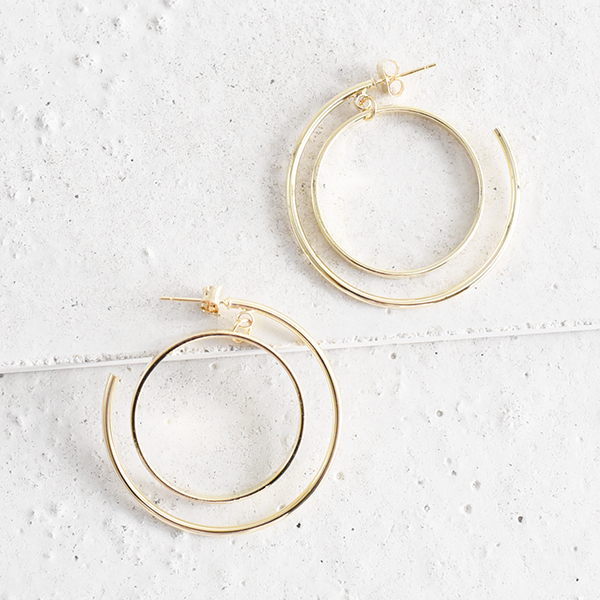 ダブルハーフフープピアス【Vierzy double half hoop pierced earrings】