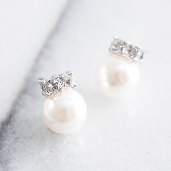 王冠風パールピアス【Saraz crown pearl pierced earrings】