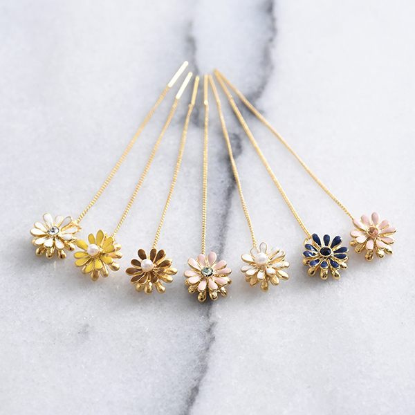 お花たらりんピアス【Mairie flower pierced earrings】