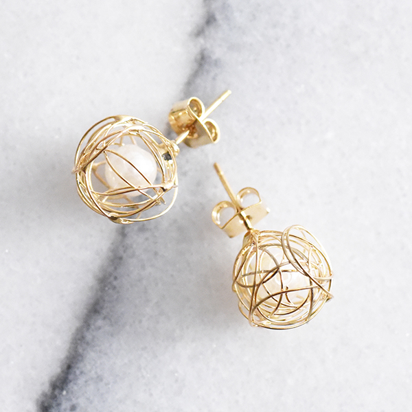 鳥の巣ピアス【 Caen birds nest pierced earrings】