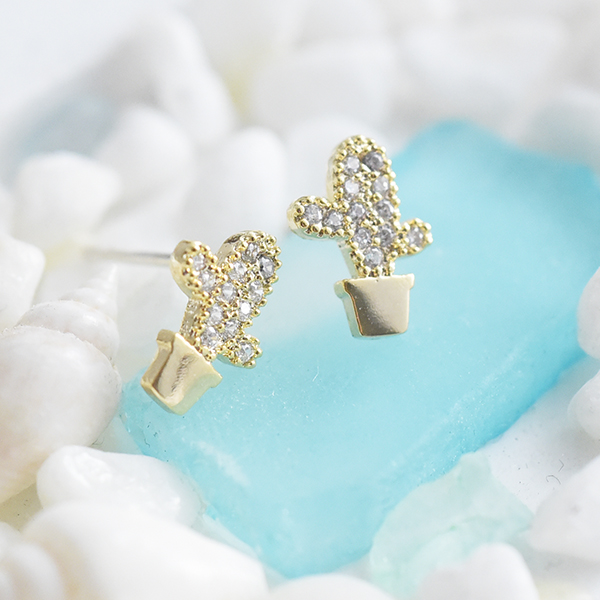 サボテンピアス【Ormes cactus pierced earrings】