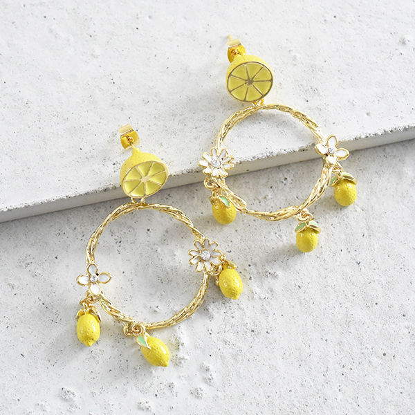 レモンリースピアス【Rue lemon lease pierced earrings】