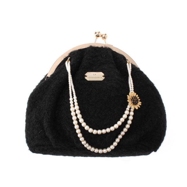 パールショルダーバッグ【LA CITTA BIANCA Pearl Necklace With Purse Bag】