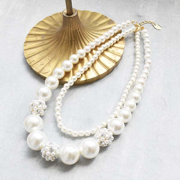 小粒パールボール×2連パールネックレス【Oisly small grain pearl ball×duplicate pearl necklace)