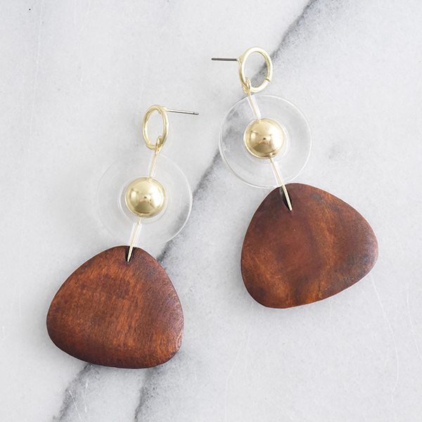 おにぎりウッドパーツピアス【Agde rice ball wood parts pierced earrings】