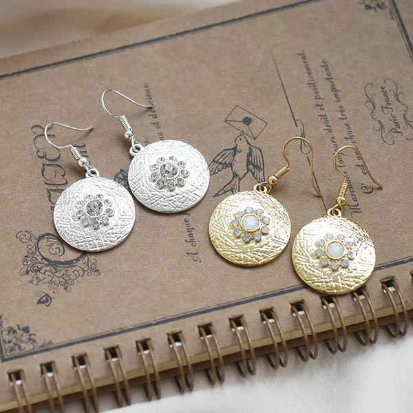 まるストーンピアス【Serres circle stone pierced earrings】