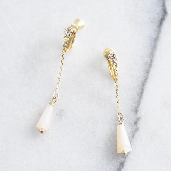 ストーンチェーンイヤリング【Ajain stone chain clip on earlings】 ...