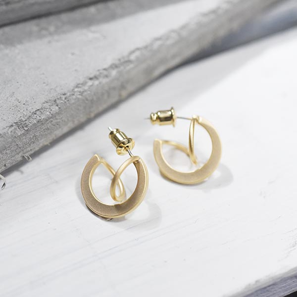 マットメタルまるピアス(小)【Meillac matt metal circle pierced earrings】