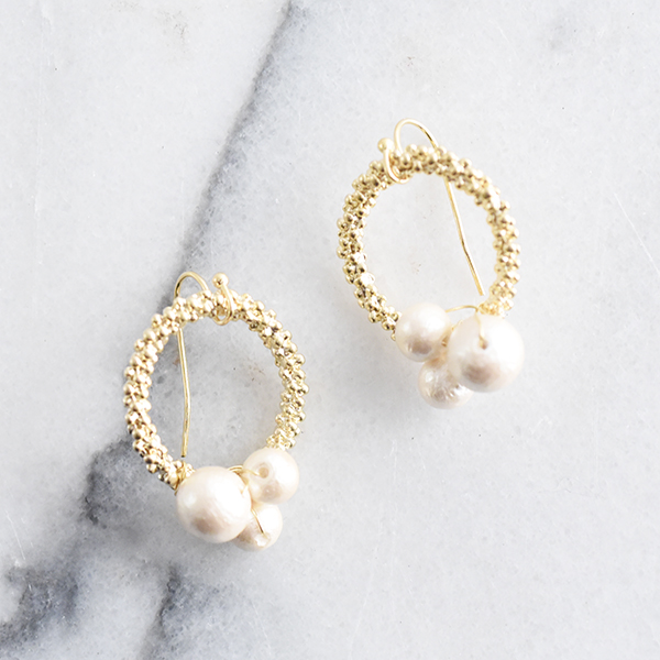 フラワーリースコットンパールピアス【Terjat flower lease cotton pearl pierced earrings】