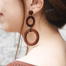 ベロアくるみダブルリングピアス【Royan velor walnut double ring pierced earrings】