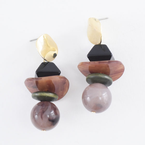 大理石調ピアス【Celles marble tone pierced earrings】