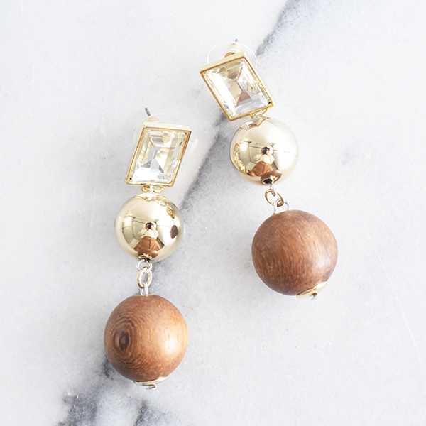 ボールウッドパーツ付きメタルピアス【Gye with ball wood parts metal pierced earrings】