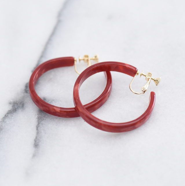 べっ甲フープイヤリング【tortoiseshell hoop clip on earings】
