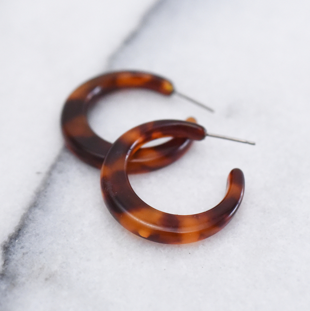 丸べっ甲フープピアス 【Dimont tortoiseshell hoop pierced earrings】