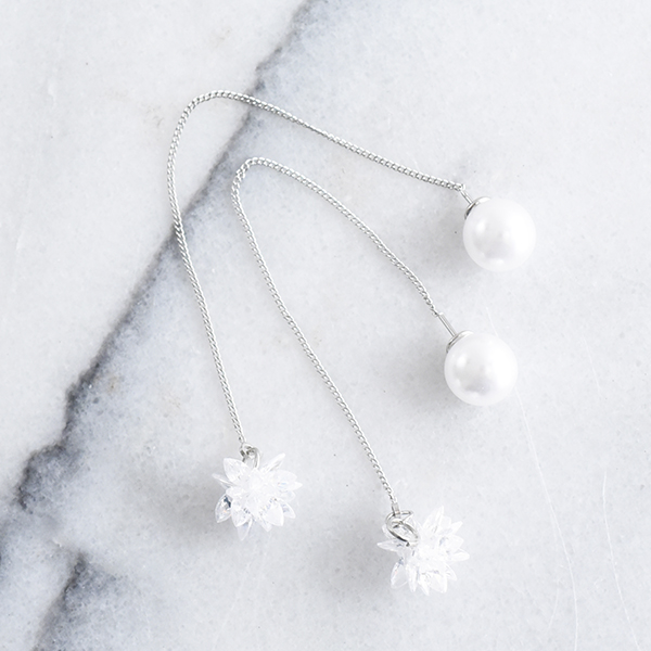 ゆらりパールストーンピアス【Roanne pearl stone pierced earrings】